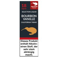 red kiwi Selection Liquid: Bourbon Vanille California Tobacco